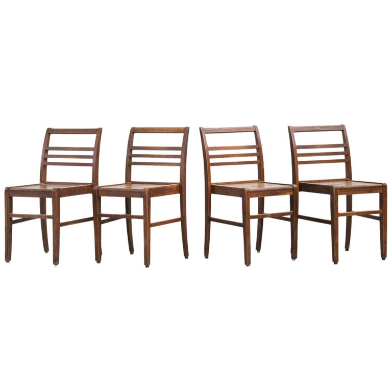 Set of Four Oak Dining Chairs, Rene Gabriel, 1940s For Sale