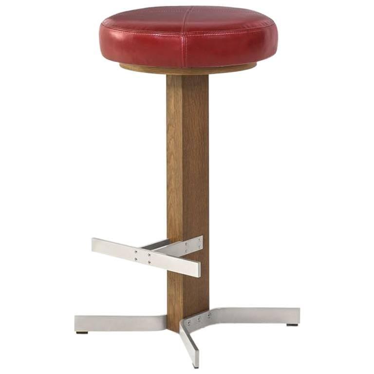 Walcott Barstool, White Oak and Nickel Base, Red Leather Seat