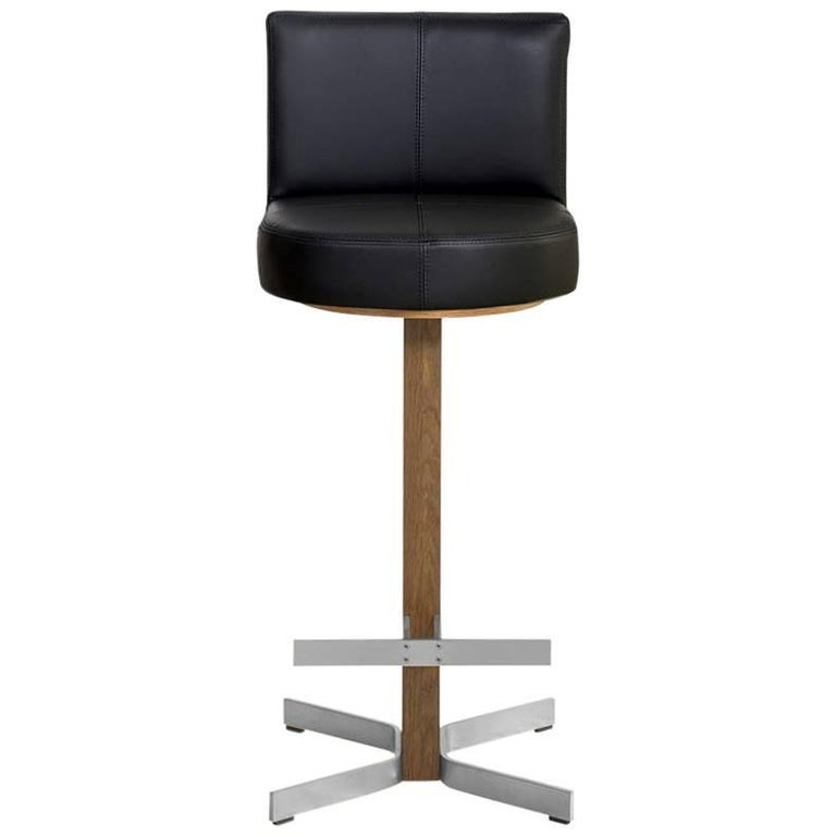 Walcott Barstool with Back, Oak and Nickel Base with Black Leather Seat
