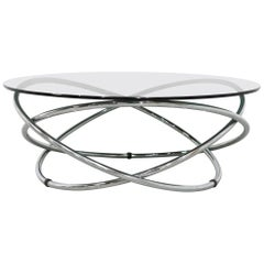 Italian Chrome Rings Coffee Table with Smoked Glass Top, 1960s
