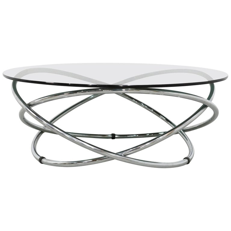 Italian Chrome Rings Coffee Table with Smoked Glass Top, 1960s 1