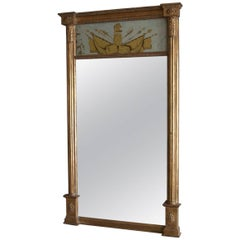 18th Century Sheraton Style American Giltwood Federal Pier Mirror