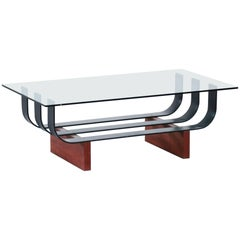 Sofa Table Tempered Glass 1960s Coffee Table