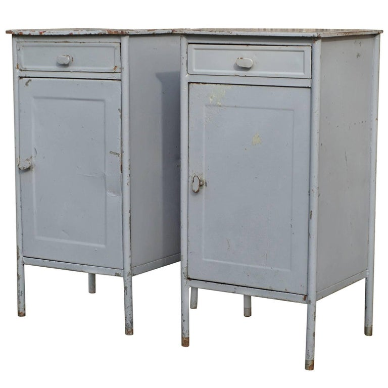 Post World War II 1940s Pair of Industrial Steel Nightstands Cabinets For Sale