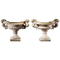 Pair of Continental Sculpted White Marble Garden Urns, 20th Century