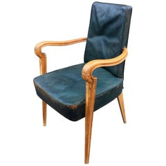 Maxime Old Attributed Art Deco Beech and Leather Armchair, circa 1940