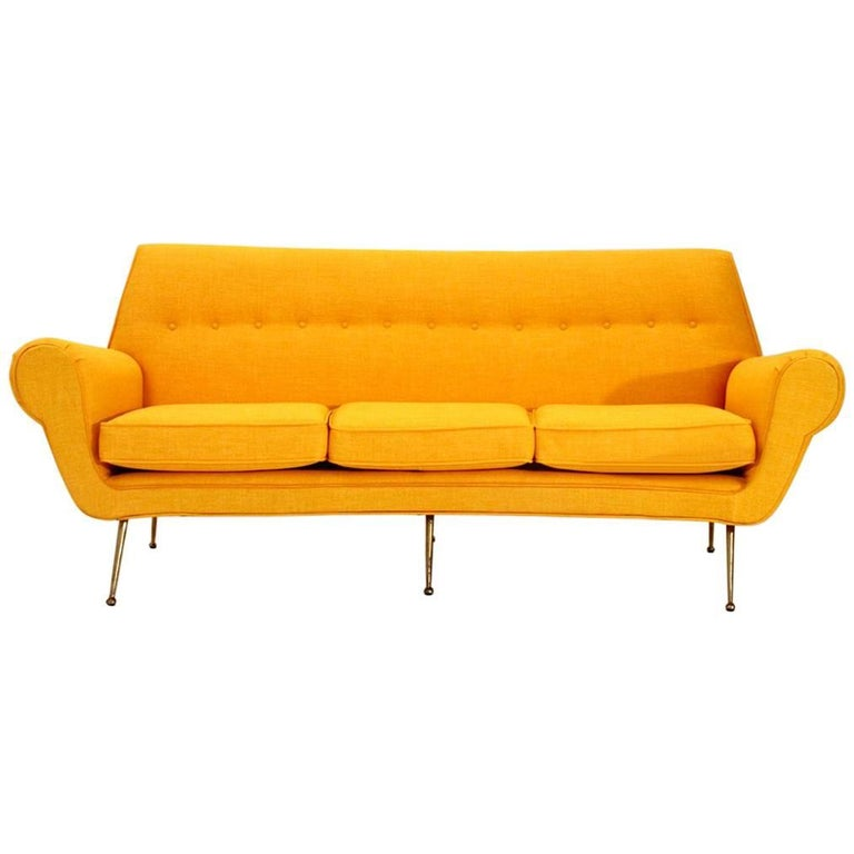 Italian Three-Seat Velvet Sofa with Brass Feats