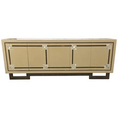 Maison Jansen, Lacquered Sideboard with Oxidized Gilt Base, circa 1970