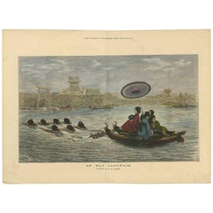 Antique Print of Japanese Women on a Boat, 1874