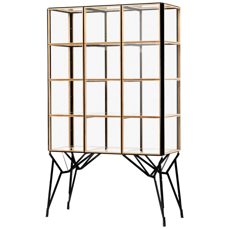 Blk Oak Showcase Cabinet by Paul Heijnen, Handmade in Netherlands For Sale