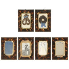 Set of Six Antique French Faux Tortoiseshell Glass Picture Frames