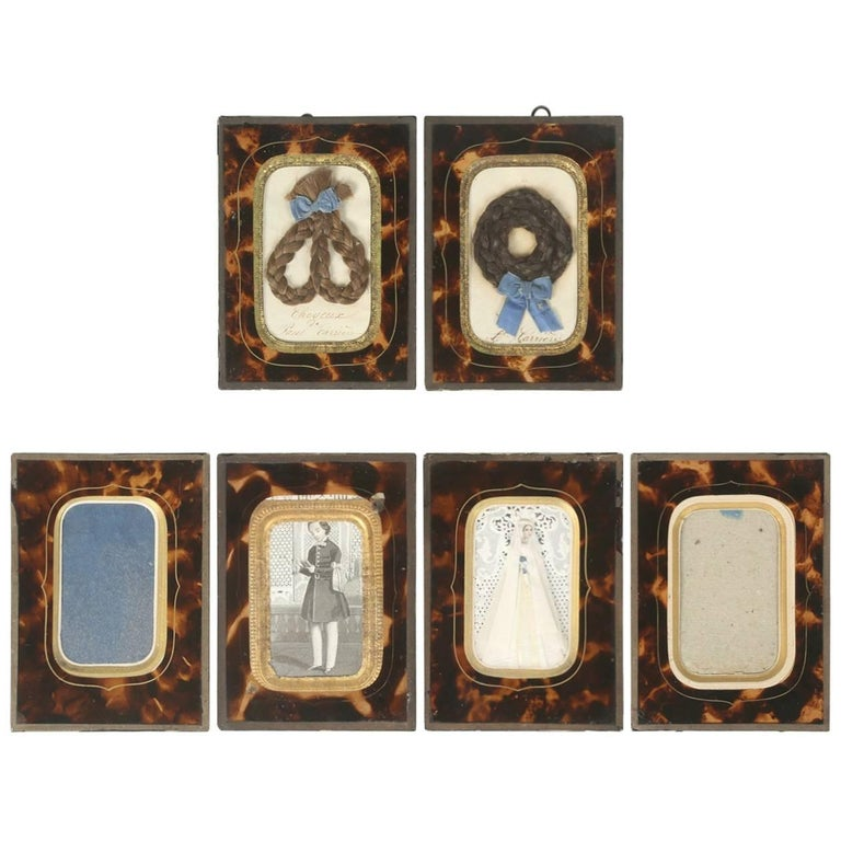 Set of Six Antique French Faux Tortoiseshell Glass Picture Frames For Sale
