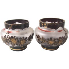 Pair of Harrach Art Nouveau Cameo Vases, circa 1899