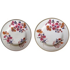 Pair of Worcester Flight Barr and Barr Plates Hand-Painted Flowers, circa 1825