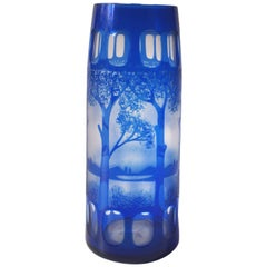 Kralik Art Deco Landscape Cameo Vase in Blue