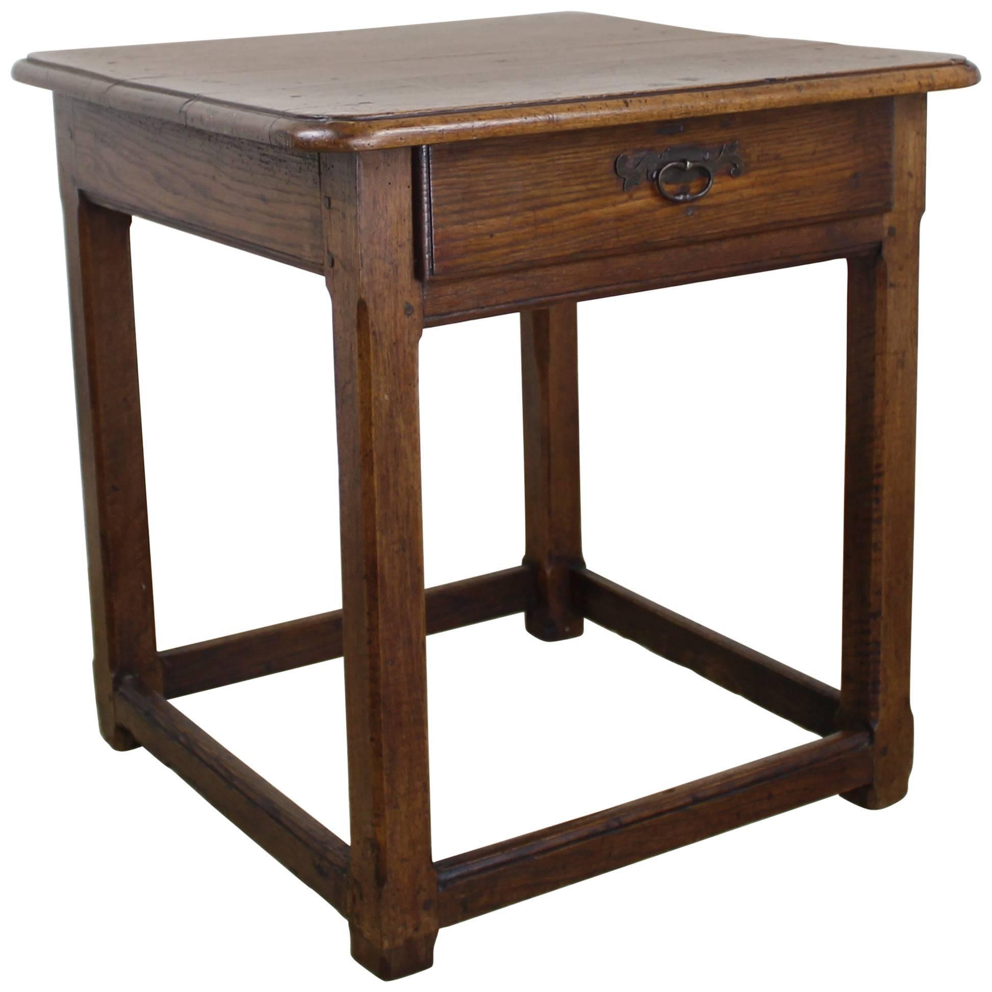 Antique Walnut Side Table, Original Iron Hardware