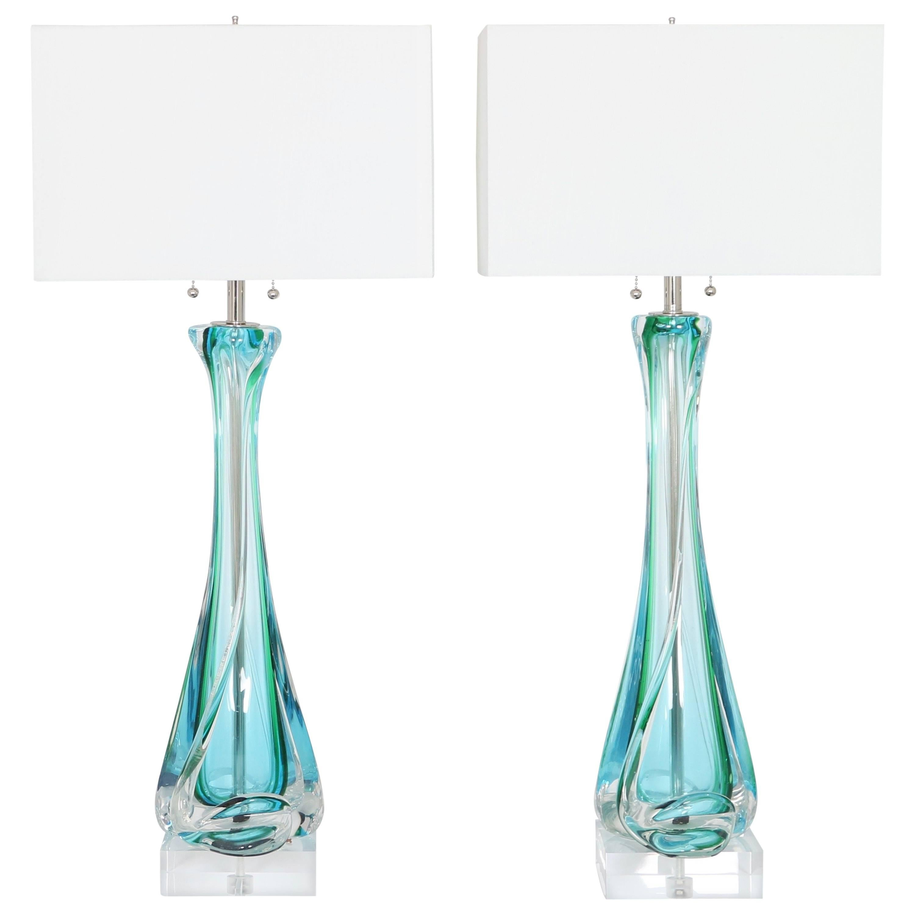 Mid Century Archimede Seguso Table Lamps In Sommerso Murano Glass For Sale