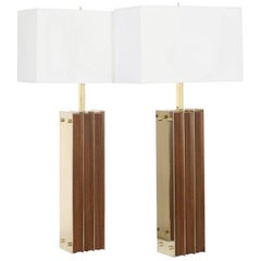 Restored Mid-Century Modern Pair of Lamps in Brass and Wood