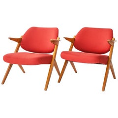 Bengt Ruda, 1950s Trivia Armchairs, in birch wood and red fabric