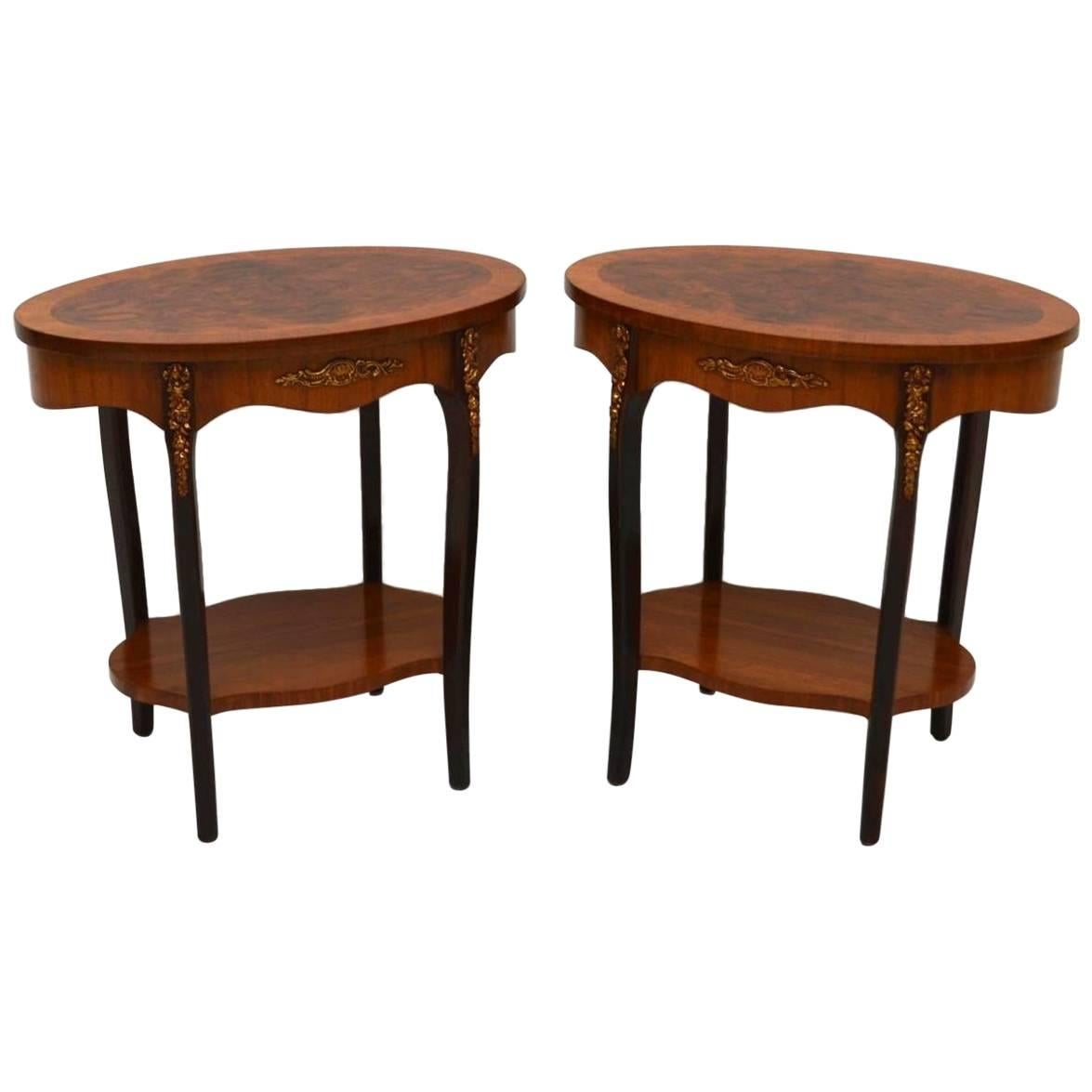 Pair Of Antique French Walnut Side Or Lamp Tables 1