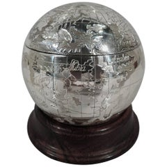 Tiffany Sterling Silver World Globe Box with Oceans and Continents