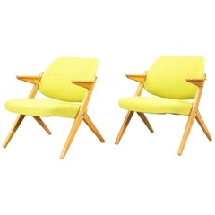 Bengt Ruda, 1950s Trivia Armchairs, in birch wood and  Acid Yellow Fabric