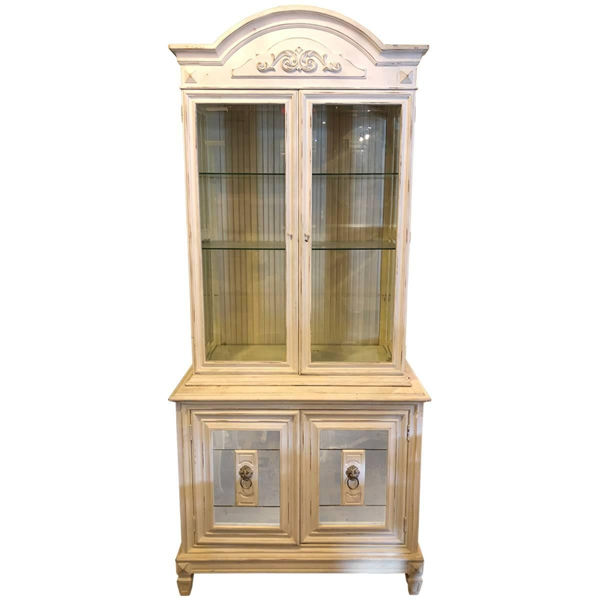 Swedish Style Distressed Paint Decorated Cabinet Having A Mirrored Bottom