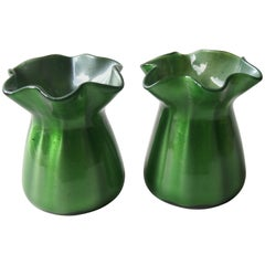 Pair of Art Deco Loetz Green Metalin Vases