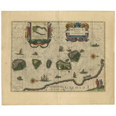 Antique Map of the Spice Islands 'Moluccas' by W. Blaeu, circa 1640