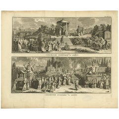 Antique Print of Japanese Wedding and Funeral Ceremonies by B. Picart circa 1730