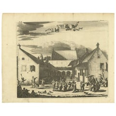 Antique Print of the Children's Hospital in Batavia by Churchill, 1744