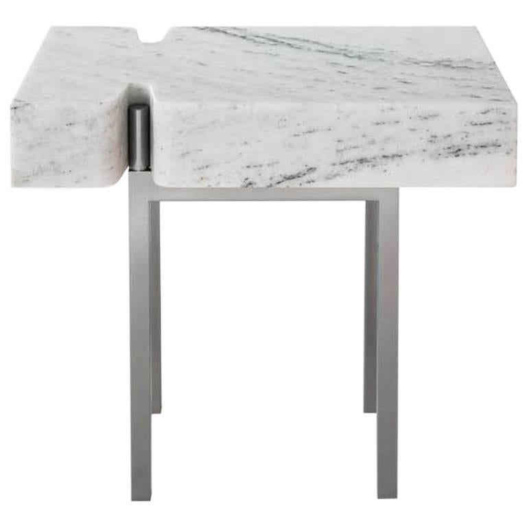 Terranova Side Table or End Table with Hewn Marble Top and Nickel Base