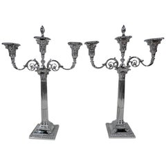 Pair of English Neoclassical Sterling Silver Three-Light Candelabra
