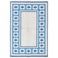 Double-Sided Blue Vintage Swedish Kilim