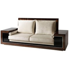 Macassar Ebony Wood Sofa in Art Deco Style, Handmade in Italy by Master Artisans
