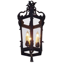 French Hexagon Cast Iron and Painted Acanthus Hanging Hall Lantern, Circa 1830