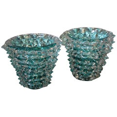 Turquoise Blue Vase in Murano Glass with Spikes Decor, Barovier Style