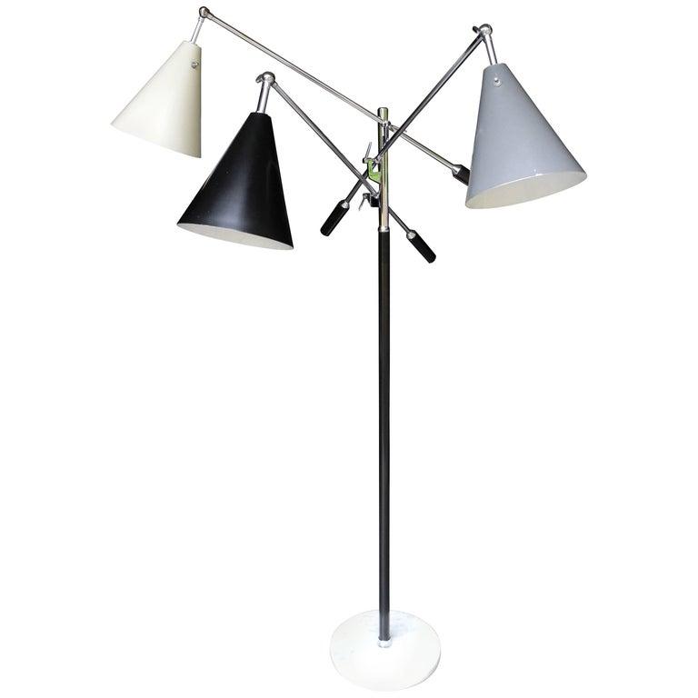 Italian Triennale Three-Arm Chrome Leather and Marble Floor Lamp