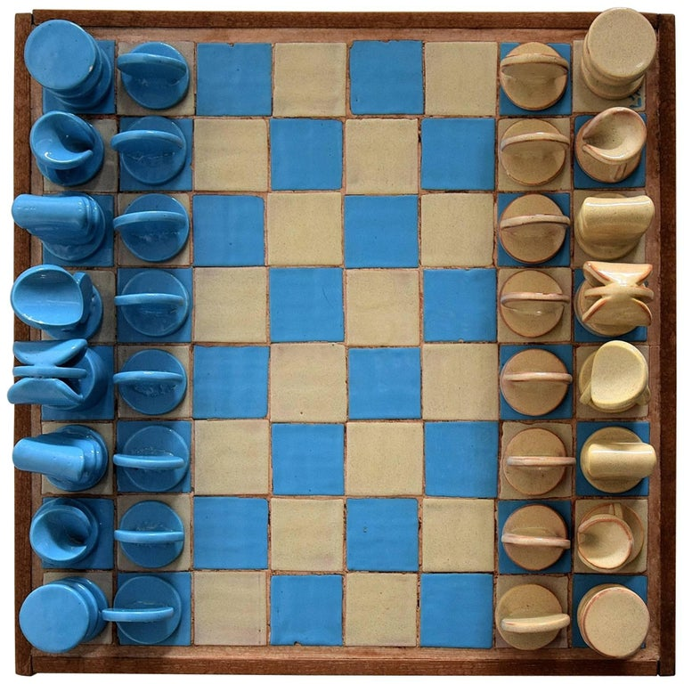 French mid century modern rare ceramic chess set at 1stdibs - Ceramic chess sets for sale ...