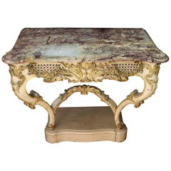 19th Century French Rococo Style White Console Table