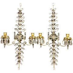 Pair of Rock Bagues Crystal Amethyst Beads Two-Arm Transitional Sconces