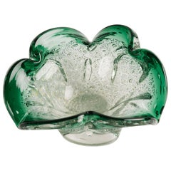 Italian Mid-Century Murano Ashtray in Emerald Green