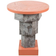 Solid Oak and Ceramic Side Table by BZippy & Co. for Collabs in Clay