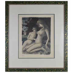 Paul Delvaux Color Lithograph Mother with Child 27/75 Signed