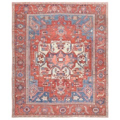 Antique Red Background Serapi Persian Rug