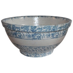 19th C Sponge Ware Giant Mixing Bowl