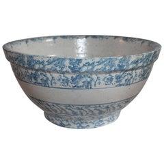 19th Century Sponge Ware Giant Mixing Bowl