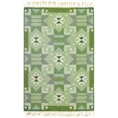 Green Vintage Scandinavian Kilim Rug by Ingegerd Silow