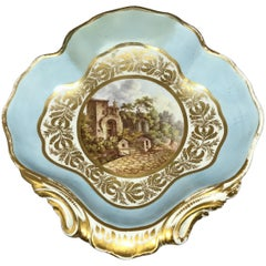 Derby Gilt Italian Scene Shell Form Serving Dish