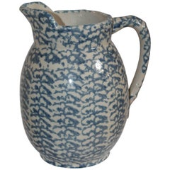 19th Century Sponge Ware Lg. Pottery Pitcher